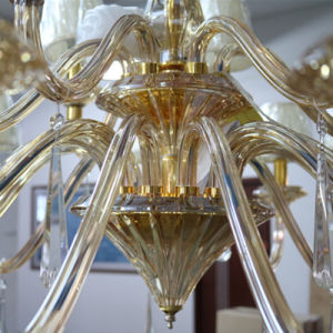 Antique Luxury Amber Crystal Chandelier with Fabric Shade pictures & photos