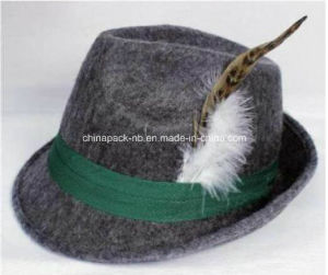 Promotional Jm Mix Grey Felt Fedora Hats with Feather (CPPH_018) pictures & photos