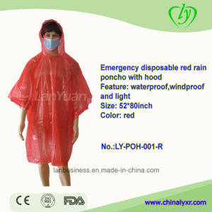 Emergency Disposable Red Rain Poncho with Hood pictures & photos