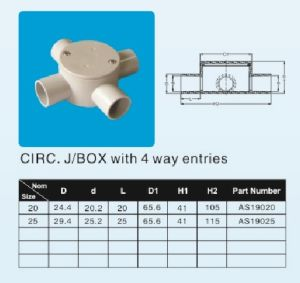 Junction Box Shallow 25mm 20mm 4way (AS/NZS2053.2: 2001) pictures & photos