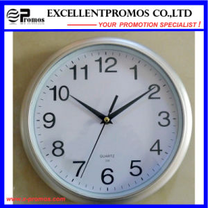 Logo Printing 10 Inch Round Plastic Wall Clock Logo (EP-Item3-silver) pictures & photos