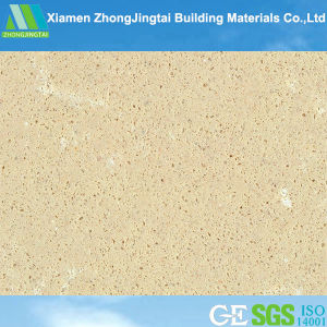 Solid Surface Beige Synthetic Quartz Stone Slab for Interior Flooring pictures & photos