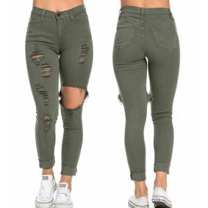2016 Custom Cotton Women Fashion Destressed Denim Jeans