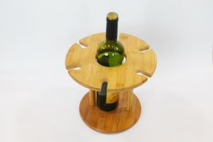 Bamboo Made Bamboo Wine Holder with 6 Wine Glass Rack pictures & photos