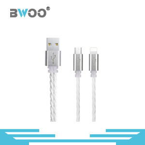 Silver Micro and 8 Pin Phone USB Data Cable pictures & photos