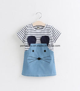 High Quality Lovely Denim Jeans Girls Dress Striped Children Wear pictures & photos