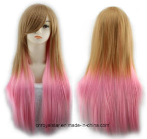 Popular Color Gradient Inclined Bang Female Long Straight Synthetic Wigs