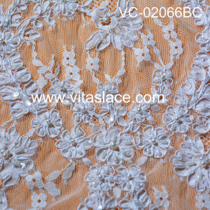 White Corded & Beaded French Lace Fabric Vc-02013bc pictures & photos