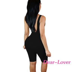Black Double Scoop Sleeveless Jumpsuit pictures & photos
