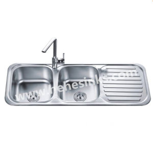 5050 double bowl kitchen sink with drain board 12048 - Kitchen Sink Double