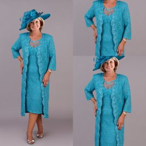 3/4 Sleeves Mother of The Bride Dress Teal Blue Lace Evening Dress B3 pictures & photos