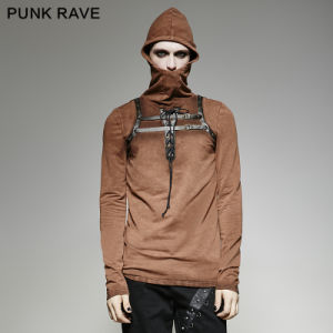 T-442 Steampunk 2 Colors Men PU Leather Loop Stylish Plain Hooded T-Shirt pictures & photos
