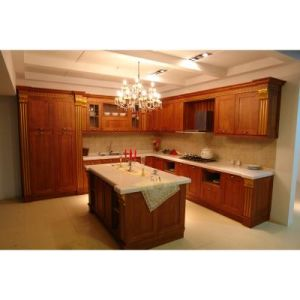 Red Cherry Solid Wood Brown Color Kitchen Design Cabinets pictures & photos