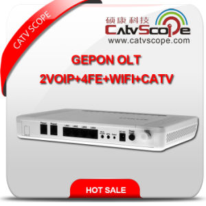 High Performance 4VoIP+4fe+WiFi+CATV Gepon Optical Network Terminal Unit ONU