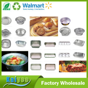 Smooth Wall Aluminium Foil Container Rectangular Full Curl Pan Container pictures & photos