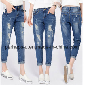 2016 Female Loose & Straight Cotton Hole Jeans pictures & photos