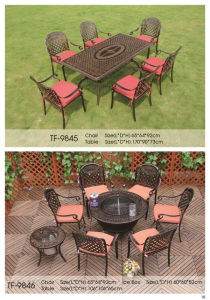 Durable Cast Aluminium Outdoor Korean Patio Furniture with BBQ Grill