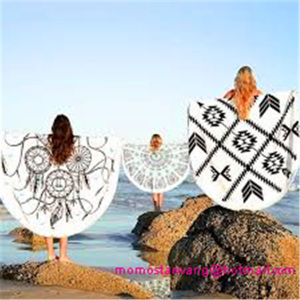 Wholesale Cotton Printing Round Beach Towel Beach Blanket with Top-Quality pictures & photos