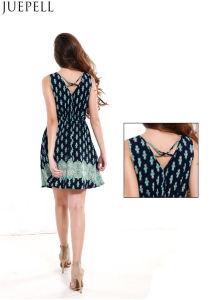 Summer Print Dress Sexy V-Neck Sleeveless Long Section of The Waist a Skirt Women Dress pictures & photos