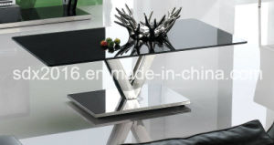 Modern Rectangle Stainless Steel V Shape Base Glass Coffee Table pictures & photos