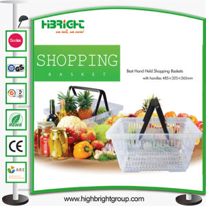 Double Handle Plastic Shopping Baskets pictures & photos