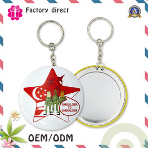Metal Iron Key Chain with Round Badge Design Cheap Price and Good Quality pictures & photos