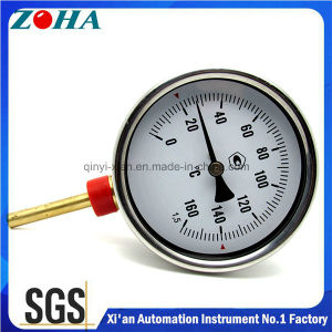 120/160 Degree Celsius Bottom Connection Bi-Metal Thermometer with Brass Thermowell pictures & photos