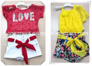 Kids Wear Short Sleeve and Shorts Suit for Girl pictures & photos