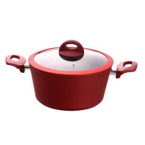 Nonstick Aluminium Pot Casserole with Red Exterior Coating