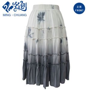 Gray&White Slimmering-Waist Peated Soft Cotton Straight Long Skirt pictures & photos