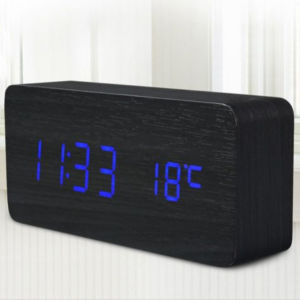 Rectangle Color LED Temperature Table Alarm Sound Control Digital Desk Wooden Clock pictures & photos