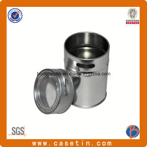 Custom Metal Round Food Grade Spice Tin Box with Hole and Window pictures & photos
