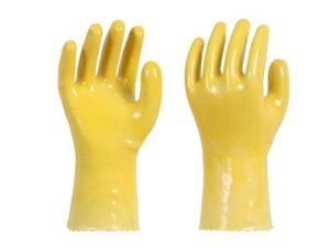 Cotton Wool PVC Coating Plastic Gloves Work Gloves 028 Non-Benzene pictures & photos