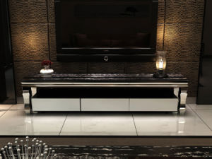 Wholesale Elegant and Melamine Finish Tempered Glass Tv stand pictures & photos