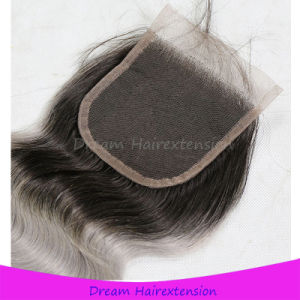 Color T1b/Grey Body Wave Brazilian Ombre Hair Closure pictures & photos