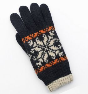 New Ladies Winter Knitted Five - Finger Wool Double-Layer Gloves with Jacquard pictures & photos