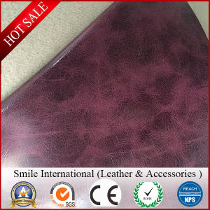Oil Fake Skin Leather New Design Hot Sales Two Tone Color Guangzhou Factory Manufacture pictures & photos