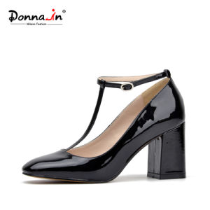 Lady Square-Toe High Heels Pumps T-Strap Leather Women Casual Shoes pictures & photos