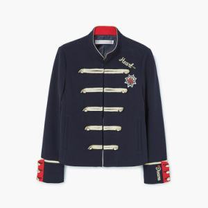 Military Style Contrasting Collar Long Sleeve Buttoned Cuffs Ladies Coat pictures & photos
