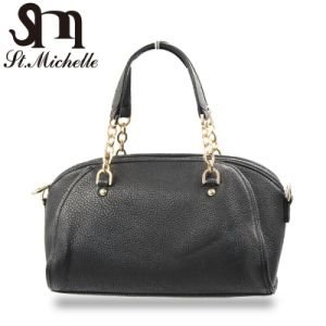 Fashion Black Leather Tote Handbags for Ladies pictures & photos
