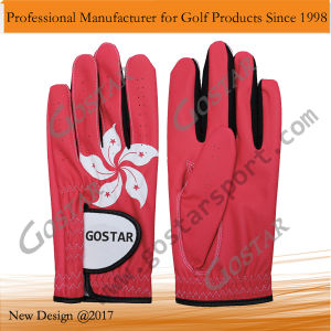 Hongkong Flag Synthetic Leather Golf Glove pictures & photos