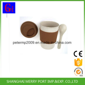 Custom Logo Avaliable Plant Fiber Tea Mug with Silicone Lid and Silicone Sleeves pictures & photos