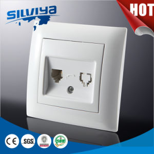 European Style Double Telephone Socket with Ce Certificate pictures & photos