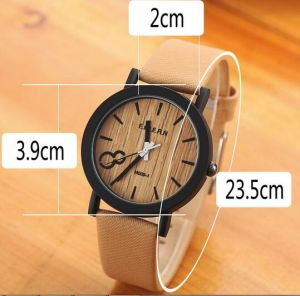Yxl-466 New Arrival Japanese Miyota 2035 Movement Wristwatches Genuine Leather Wooden Color Face Watches Wholesale Factory pictures & photos