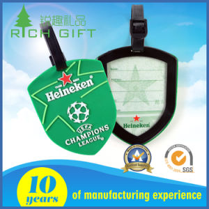 Soft PVC Luggage Tag with Shield Shape and Green Color pictures & photos