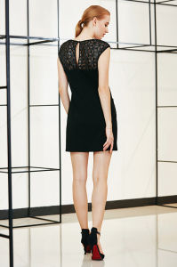 Solid Drop Shoulder Mini Dress with Lace York and Patch Pocket pictures & photos