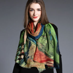 Women′s Abstract Digital Printing of Wool Scarf Hijab pictures & photos