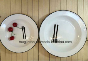 Logo Printing Enamel White Saucer Fruit Plate Thickness for 0.5mm 22cm pictures & photos