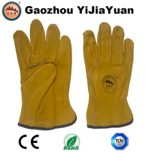 Leather Safety Cowhide Grain Leather Driving Work Gloves pictures & photos