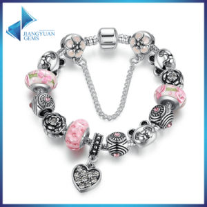 Charm Bracelet Heart Pendant & Bear Flower Safety Chain Pink Murano Beads Bracelets Jewelry Making pictures & photos